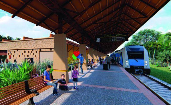 Artist's impression of a Mayan Train station.