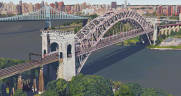 Above: Artist's rendering of a MTA Metro-North commuter train crossing Amtrak's Hell Gate Bridge.