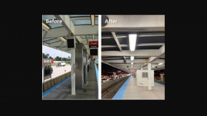 So far this year, five CTA work facilities and five rail stations across the Red, Green and Pink lines have been upgraded. Pictured: Lighting upgrades at the Red Line's Sox-35th station.