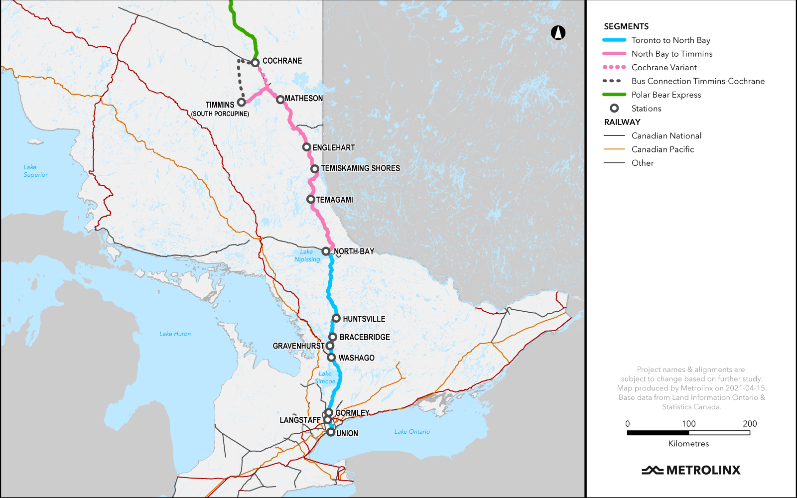 In 2012, Northlander passenger rail service—between Cochrane, North Bay and Toronto, in conjunction with bus service—was discontinued. Now under study is a 13-stop route serving Toronto (Union Station), Langstaff, Gormley, Washago, Gravenhurst, Bracebridge, Huntsville, North Bay, Temagami, Temiskaming Shores, Englehart, Matheson, and Timmins or Cochrane. Bus service between rail stops would be included.
