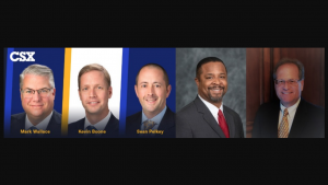 From left to right: Mark K. Wallace, Kevin S. Boone and Sean R. Pelkey of CSX; Jason Morris, NS; and Philip F. Pietrandrea, A. Stucki Co.