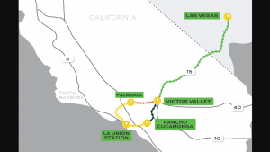 The proposed map of Brightline West, a high speed passenger rail service connecting Southern California and Las Vegas.