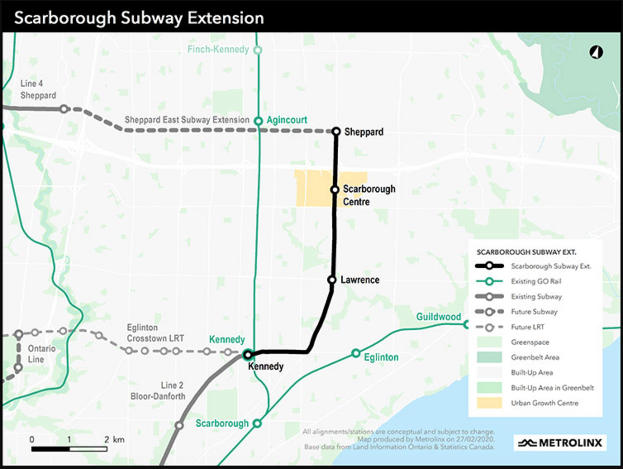 The Scarborough Subway Extension project will bring Toronto Transit Commission's Line 2 subway 4.8 miles (7.8 kilometers) further into Scarborough, with stations at Lawrence Avenue and McCowan Road; Scarborough Center; and Sheppard Avenue and McCowan Road.