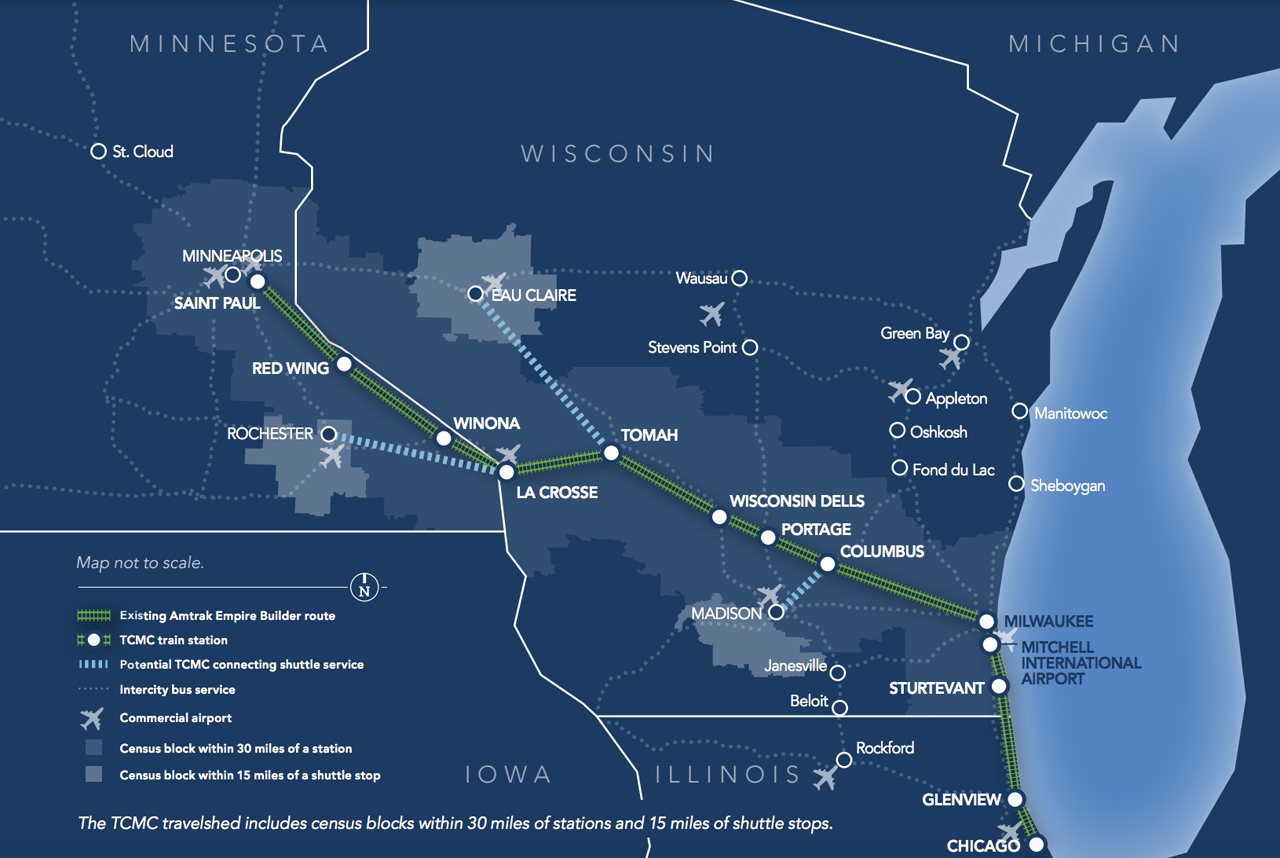 The Twin Cities-Milwaukee-Chicago (TCMC) Intercity Passenger Rail Project adds a second daily round-trip passenger train on the 411-mile corridor between Chicago, Ill., and the Twin Cities (St. Paul and Minneapolis) in Minnesota.