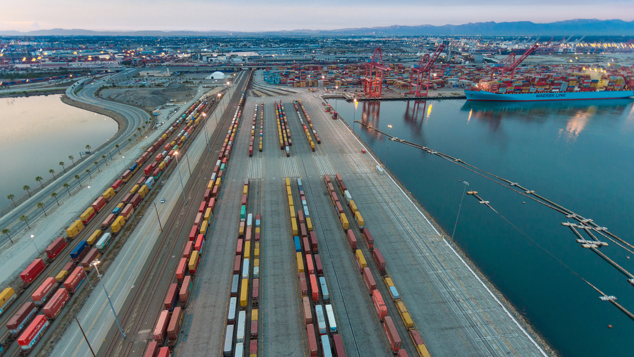 As part of a new pact with the Utah Inland Port Authority, the Port of Long Beach will invest $1 billion over the next 10 years to optimize its existing on- and near-dock rail system, reducing dwell times and improving the speed and consistency of rail deliveries to and from Utah. (Courtesy of the Port of Long Beach)