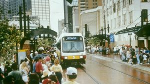 DART debuted June 14, 1996 with 11.2 miles of Blue and Red line starter services. Today, it spans 93 miles with 65 stations—the longest light rail system in the country. Pictured: West End Station on opening day.