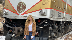 Travel and lifestyle host Abby Hornacek visits the Grand Canyon Railway on the first episode of PARK'D, which will air July 3 on FOX Nation.