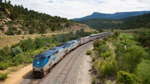 """A full build-out of Front Range passenger rail service """"along dedicated double-track between Fort Collins and Pueblo"""" could cost $14 billion, according to The Denver Post. """"There's also been discussion about linking the line farther south to Trinidad, which is along Amtrak's Southwest Chief line."""" (Pictured: Southwest Chief near Fishers Peak, Colo.)"""