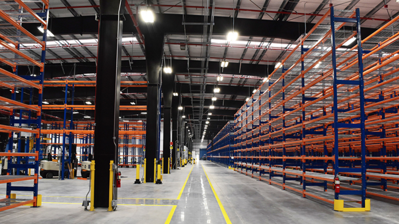 BART's new 135,000-square-foot central warehouse includes energy-efficient HVAC and lighting, which will cut energy consumption by more than 30%, and a more efficient building layout to facilitate the receipt, storage and location of critical railcar components. (Photo of Hayward Central Warehouse courtesy of Clark Construction Group)