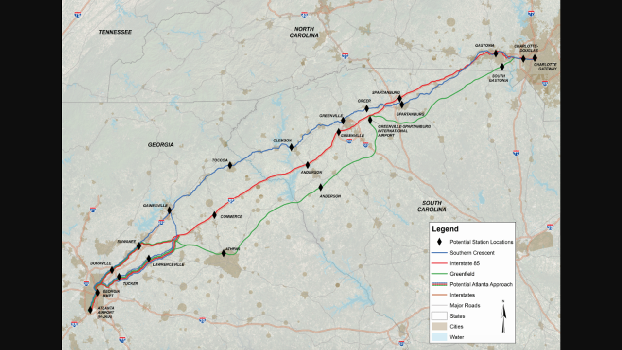 The 274-mile Greenfield Corridor alternative connects Charlotte (Charlotte Gateway Station) and the Hartsfield-Jackson Atlanta International Airport. The route generally follows a new dedicated alignment between the Charlotte Douglas International Airport and northeast Atlanta, according to FRA.