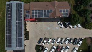 Pictured: The newly installed solar array at the headquarters of INRD, Railway Age's 2012 and 2018 Regional Railroad of the Year.