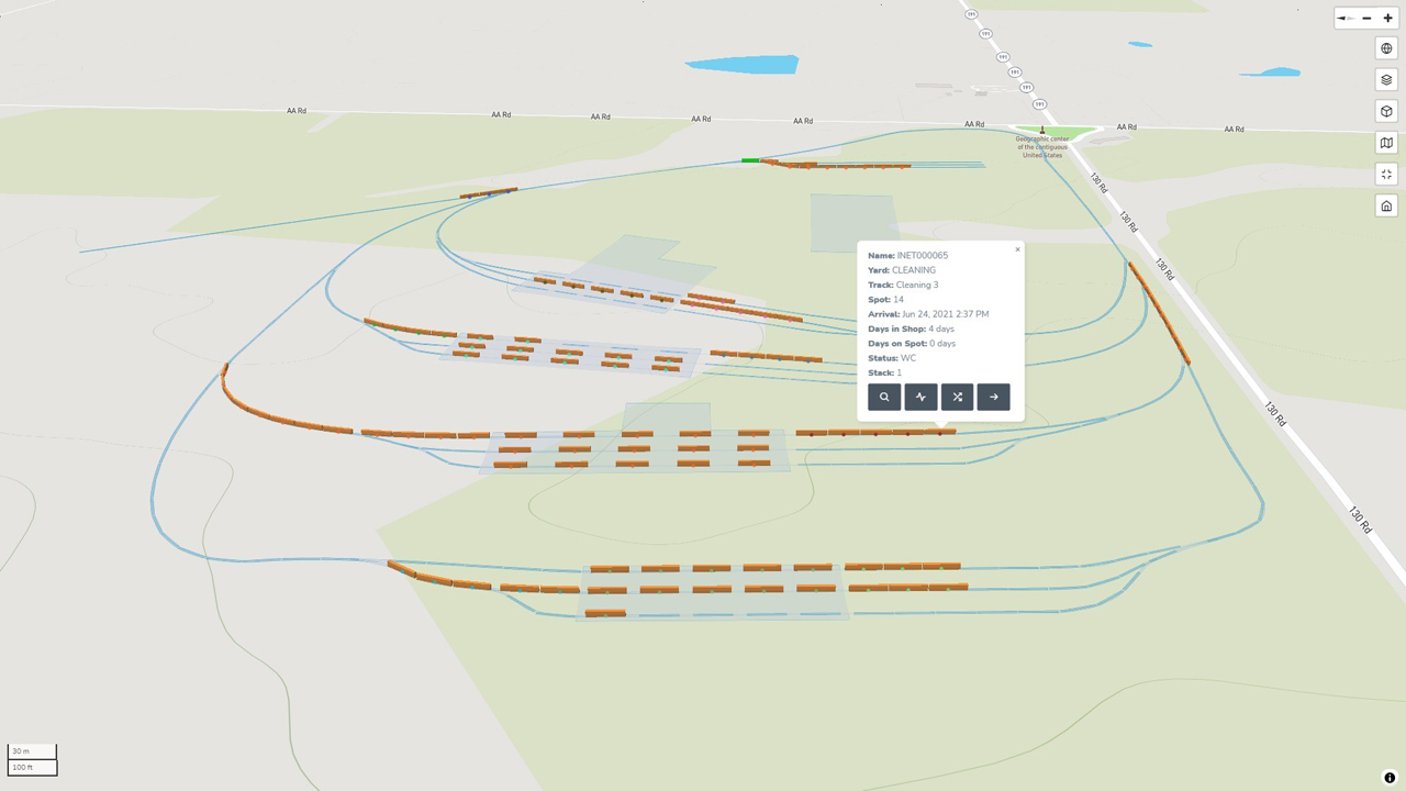 """The INet Gateway platform also provides users with a mapping screen that shows a real-time, """"Google Maps-style view"""" of their rail yard."""