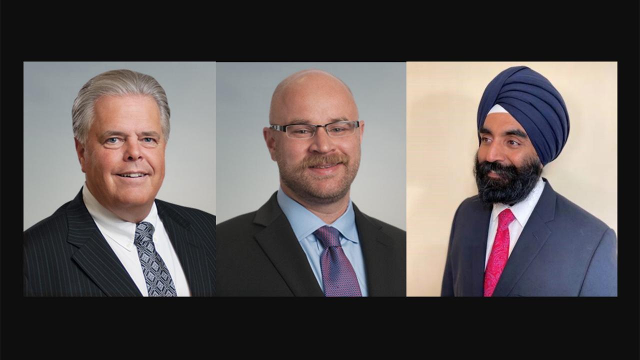Kevin Pruett, Senior Vice President, ENSCO Aerospace and Engineering Group (left); Jeffrey Stevens, Senior Vice President, ENSCO Surface Transportation Group (center); Darshpreet S. Bhatti, incoming CEO, Calgary's Green Line Light Rail Transit project.