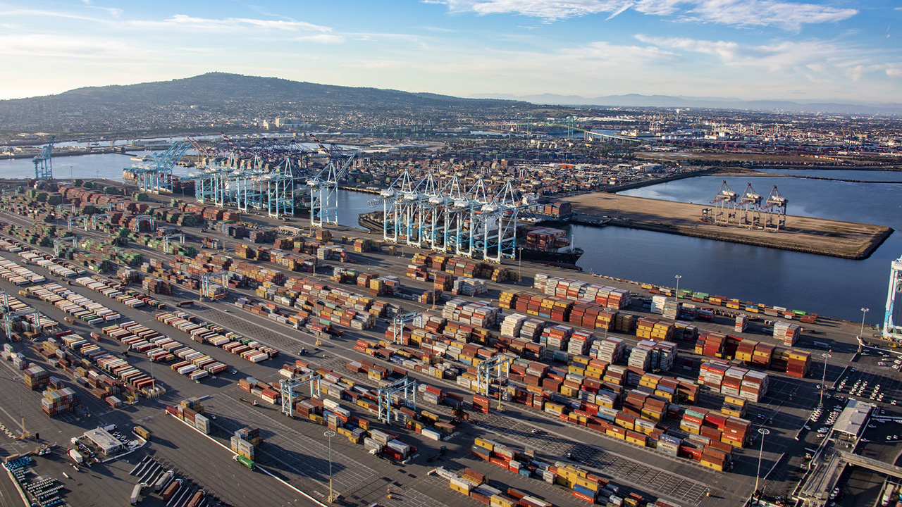 """The Port of Los Angeles reported its """"busiest June ever,"""" processing 876,430 TEUs, a 27% increase vs. 2020. (Photo courtesy of the Port of Los Angeles)"""