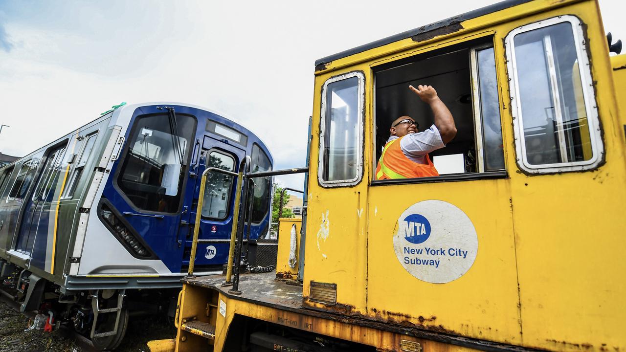 MTA New York City Transit showed off the first five new Kawasaki R211 rapid transit cars at the South Brooklyn Interchange Yard on July 1. (Marc A. Hermann / MTA)