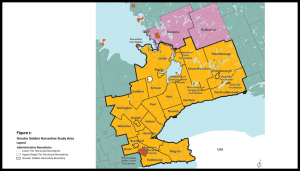 The government of Ontario is building a 2051 Greater Golden Horseshoe (GGH) transportation plan. GGH is the urban region centered on the city of Toronto. It extends from Waterloo, Wellington and Brant County from the west; Peterborough and Northumberland from the east; Simcoe County to the north; and Haldimand and Niagara to the south.