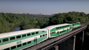 """Increasing infrastructure capacity on the Milton corridor is """"key to realizing the transportation benefits of fluid freight movement and two-way, all-day [GO Transit train] service for commuters,"""" according to Transport Canada."""