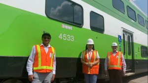 The last of 36 new Alstom bilevels has arrived at Go Transit's Willowbrook Rail Maintenance facility in Etobicoke, Ontario. Pictured (left to right): Equipment Engineering Officer Tarique Alam; Faye Chen Naden, Metrolinx Director of Rail Fleet and Facilities Maintenance; and Steve Cavanaugh, Metrolinx Director of Fleet Engineering and Asset Management. (Metrolinx)