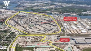 The 735-acre Greens Port offers more than 3 million square feet of warehouse space, storage for 1,600 railcars across four rail yards, and seven deep water and nine barge berths along the Houston Ship Channel.
