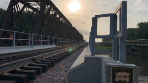 """A $3.47 million CRISI grant made replacement of the William J. """"Bill"""" Duggan bridge by the Iowa Interstate Railroad (IAIS) possible. The new bridge opened to freight rail traffic on June 30, 2020."""