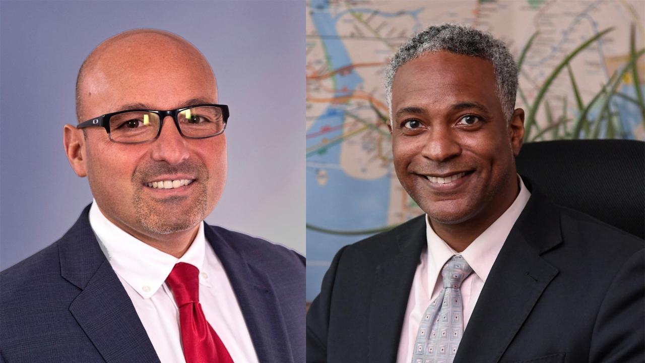 Craig Cipriano, Interim President of New York City Transit (NYCT; left) and Demetrius Crichlow, Senior Vice President of NYCT's Department of Subways. (Photo Credits: Marc A. Hermann / MTA)
