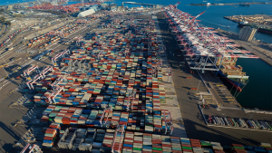 With an annual capacity of 3.3 million TEUs, the new Long Beach Container Terminal at Middle Harbor will be capable of moving twice the cargo with less than half of the air pollution of the two terminals it replaces, according to the Port of Long Beach. (Photo courtesy of the Port of Long Beach.)