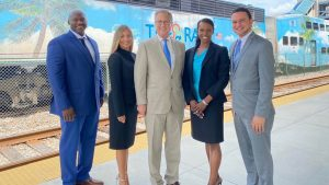 From left to right: Charles Hankerson, Director of Operations; Diane Hernandez Del Calvo, Deputy Executive Director/EEO Officer; Steven Abrams, Executive Director; Loraine Cargill, Director of Strategic Planning/EEO Officer; and Victor Garcia, Director of Public Affairs.