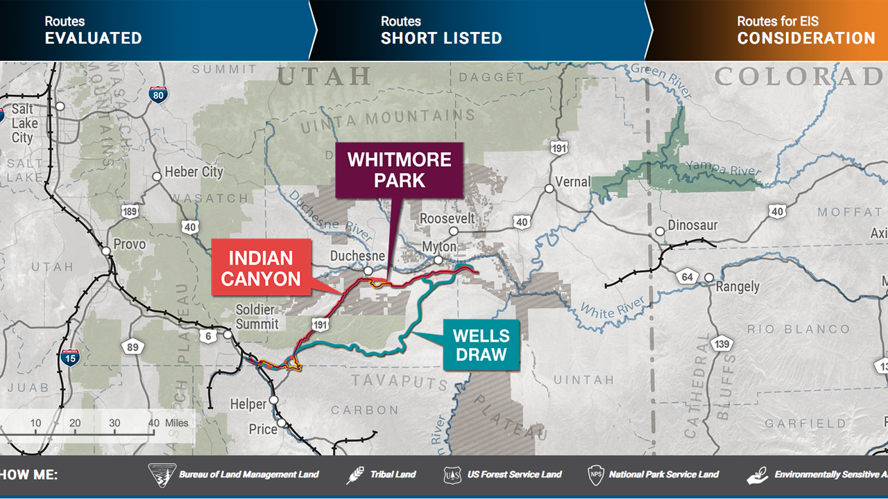 The STB's Office of Environmental Analysis analyzed three potential routes for a proposed new railroad, which would primarily transport crude oil produced in northeastern Utah's Uinta Basin.