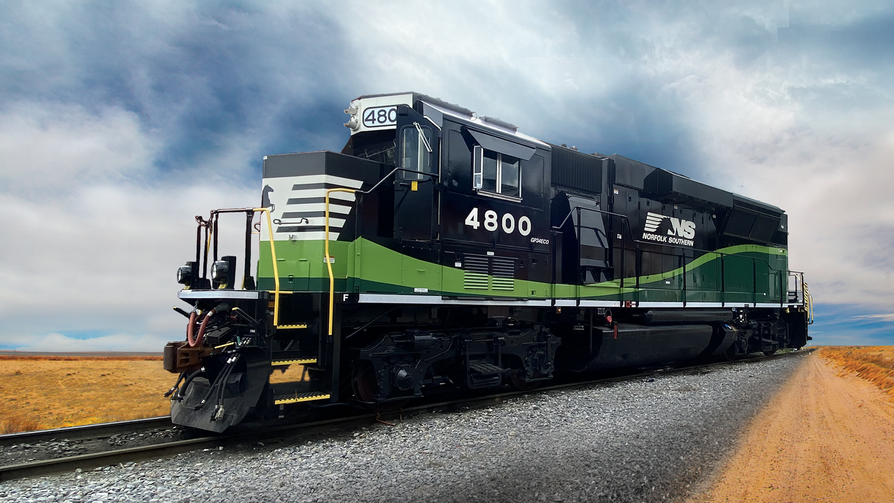 """Powered by a 3,000 h.p. 12-710 EMD engine, the GP34ECO uses the """"first diesel exhaust fluid (DEF) / selective catalytic reduction (SCR) aftertreatment system intended for line haul locomotive applications,"""" according to collaborators Norfolk Southern and Progress Rail."""