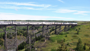 Pictured: Eastbound Empire Builder crossing Two Medicine Trestle in July 2011 at East Glacier, Mont. Source: Wikipedia.