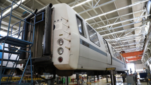 The last-ever BART C2 car was decommissioned in August 2021 at the Hayward Shop. Note the headlights on the end as well as the flat-shaped front. The The C2 could serve as a lead car with an operator cab or as a middle car, which ushered in a new era of efficiency in dispatch operations when they arrived in the 1990s. (Photograph and caption, courtesy of BART)