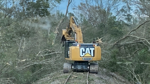 Between UAS and inspection teams on the ground, BNSF covered 130 miles of affected railroad after Hurricane Ida. Looking for track washouts, structure damage, and signal and crossing outages, every section of railroad was checked. Clean-up crews followed with excavators, chainsaws and grapple trucks, for instance. (Photo: Courtesy of BNSF)