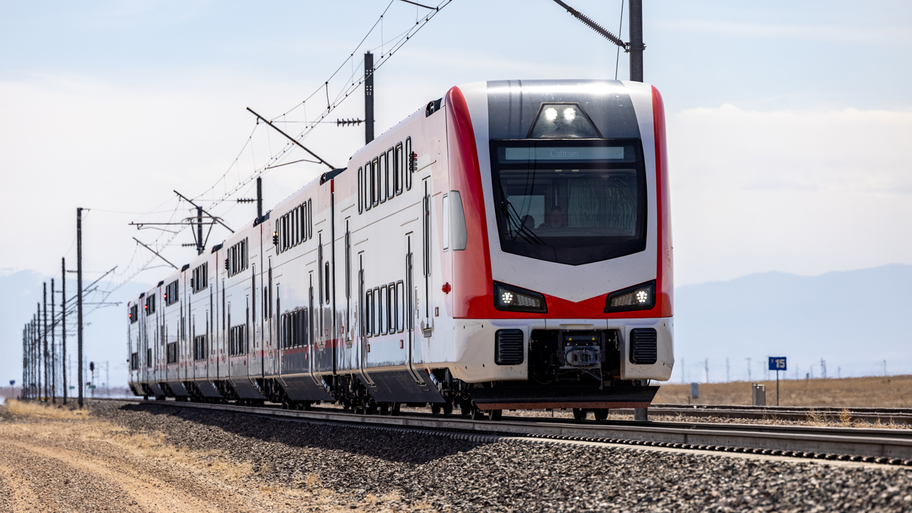 Pictured: Caltrain's Stadler-built KISS EMU (electric multiple unit) No. 1 tested at the Transportation Technology Center in Pueblo, Colo.