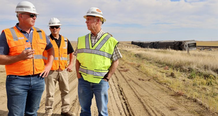 """Montana Gov. Greg Gianforte (pictured, right) said on Sept. 26 via Twitter: """"In Chester following yesterday's Amtrak derailment, I heard dozens of stories of Montanans doing what Montanans do best—neighbors helping neighbors, and strangers, in need. Our thoughts remain with all those impacted by this tragedy as NTSB conducts a thorough investigation."""" (Photo: Courtesy of Gov. Gianforte via Twitter)"""