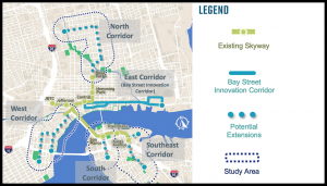 JTA's Ultimate Urban Circulator (U2C) will convert and expand the Skyway automated people mover from a 2.5-mile to a 10-mile system with transitions to the street level using autonomous vehicles.