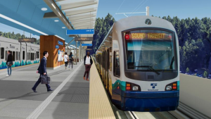 Artist Rendering of the Lynwood Link Light Rail Extension's Mountlake Terrace Station, which is due to open in 2024.