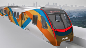 """MARTA riders and potential riders can vote for one of four themed exterior-graphic options to be used on the new Stadler railcars, which will start arriving in 2023. Each one is inspired by """"MARTA colors and the dynamism and movement of trains,"""" the agency said. Pictured: Flowing Ribbons, Option A."""
