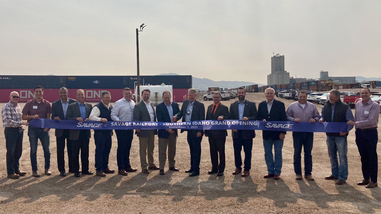 Savage on Sept. 1 celebrated the grand opening of a new terminal at UP's Pocatello, Idaho, rail yard for transport of containerized hay and other agricultural commodities to Northwest Seaport Alliance ports in Washington state.
