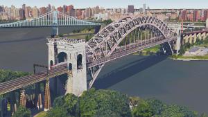 Above: Artist's rendering of a MTA Metro-North commuter train crossing Amtrak's Hell Gate Bridge.