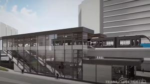 SkyTrain's 11.8-mile (19-kilometer) Canada Line in metro Vancouver will have a 17th station starting in spring 2023. The C$52 million Capstan Station (rendering above) will be located between the existing Bridgeport and Aberdeen stations.