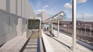 """Dubbed """"A Better Red,"""" TriMet's project will expand MAX Red Line service west, helping to link Beaverton, Portland International Airport and the Gateway Transit Center, and providing a one-seat ride from Hillsboro to the airport. (Airport rendering, courtesy of TriMet)"""