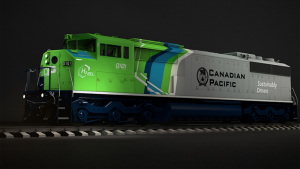 """On Oct. 4, CP shared on Twitter: """"Introducing CP's new prototype hydrogen-powered line-haul locomotive: #H20EL or Hydrogen Zero Emissions Locomotive. Each design element conveys CP's commitment to sustainability & transformational technology."""""""