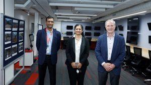 On Oct. 13, Wabtec employees Eric Gebhardt (left), Dr. Sujatha Narayan and Gopal Madabhushi inaugurated the company's new engineering lab in Bengaluru, India.