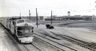 Central of Georgia's Nancy Hanks II at Ford's Hapeville plant in a publicity shot from 1948. The Nancy Hanks II operated between Atlanta and Savannah, Ga., with a stop in Macon and other towns along the way. The all-coach, reserved seat train included coaches and a grill-lounge car. (Caption Courtesy of the Atlanta History Center.)