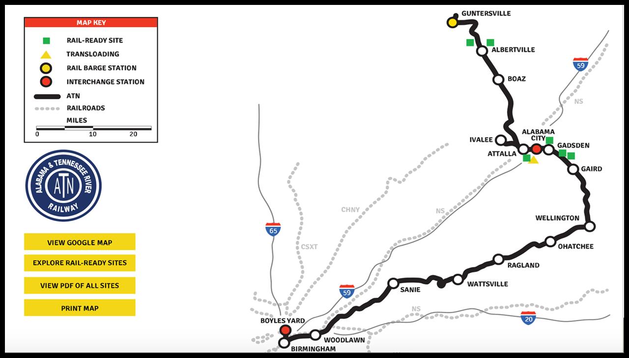 Through its Rail-Ready Sites program, OmniTRAX is marketing six properties along ATN in partnership with Marshall County (Ala.) EDC and Gadsden-Etowah IDA.