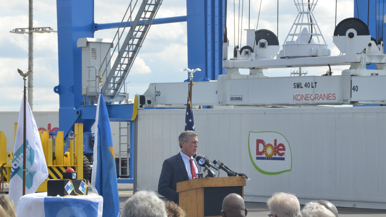Delaware Gov. John Carney (pictured) joined state and local officials, labor union reps, customers, vendors and executives of GT Wilmington to celebrate completion of the first phase of Port of Wilmington's electrification project.