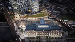 The last major renovation of the 110-year-old Baltimore Penn Station was in 1984. Pictured above is a rendering of the state-of-the-art redevelopment of the historic station, including its expansion. (Image: Gensler)