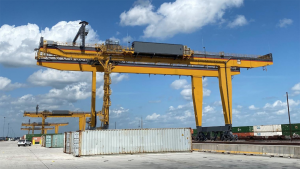 Four of the five new wide-span cranes that have been assembled at Union Pacific's Global IV intermodal terminal in Joliet, Ill. (Photo and Caption: Courtesy of UP)